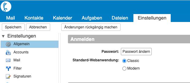 Webmailer Voreinstellung ändern