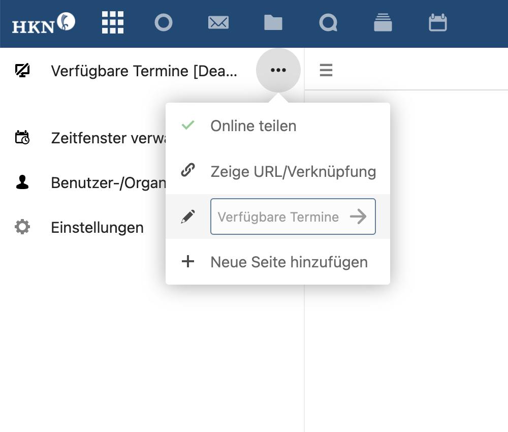 Termine Webformular veröffentlichen